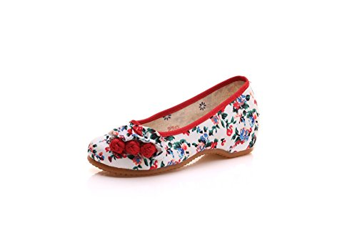 Lazutom Ballerina Flats Casual Chinese Women Comfortable Shoes Style White Walking FxHrFawB1q