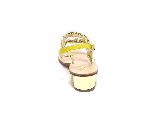 Bracelet Femme modèle Capri amalfi Sandale en cuir avec strass-Jaune