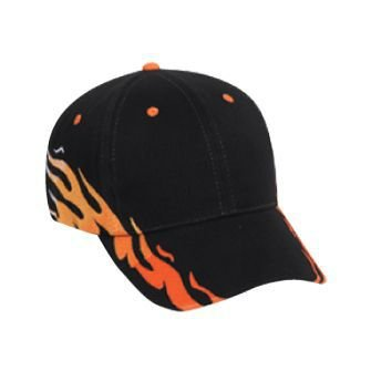 OTTO Flame Pattern Brushed Bull Denim 6 Panel Low Profile Baseball Cap - ()