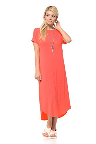- iconic luxe Women's A-Line Short Sleeve Midi Dress Medium Coral