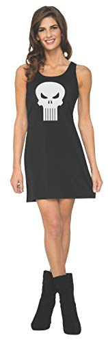 The Punisher Costumes (Rubie's Women's Marvel Classic Punisher Costume Tank Dress, Black,)