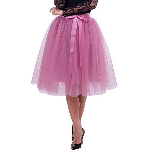 Joeoy Women's A Line Knee Length 6 Layered Bowknot Tutu Tulle Skirt Prom Party Skirt (Mauve Pink)]()