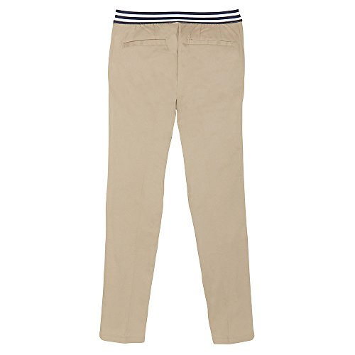 French Toast Girls' Big Stretch Contrast Elastic Waist Pull-on Pant, Khaki, 7 by French Toast (Image #2)
