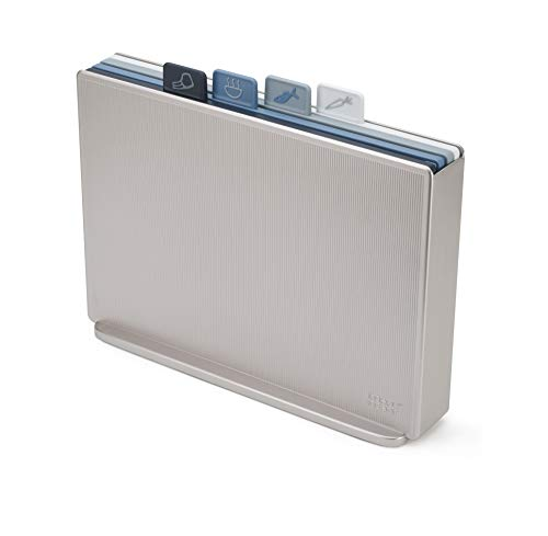 Joseph Joseph 60168 Index Plastic Cutting Board Set with Storage Case Color-Coded Dishwasher-Safe Non-Slip, Large, Silver/Sky