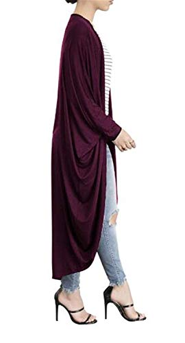 Cappotto Casuale Donna Giubotto Libero Giacca Autunno Elegante A Maglia Rosso Pipistrello Baggy Monocromo Battercake Tempo Irregular Donne Cappotti Confortevole Lunga Manica FIwzxqHd4