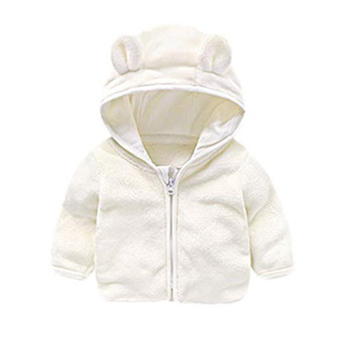 Warm Clothes-2018 Unisex Cartoon Ear Hooded Sweatshirts Infant Zipper Blouse Toddler Baby Boys Girls (White, 110)