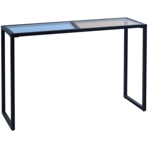 Console Table Tempered Glass Top Metal Frame Hallway Entryway Home Furniture - Demilune Table Glass Console