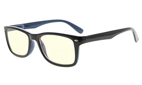 Eyekepper Computer Glasses,UV Protection, Anti Glare,Anti-Reflective Computer Eyeglasses (Black Blue, Yellow Tinted Lenses)