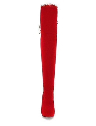 Cuñas Rojo Botas Moda De Uk4 Cuña Vellón Plataforma Punta Red us8 Casual Vestido Zapatos La Mujer us6 Cn36 Eu39 Red A Eu36 Tacón Uk6 Negro Cn39 Redonda Xzz TXz75