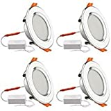 B2ocled 4X LED Downlights 3 Color Changing Recessed Panel Lights Round Ceiling Spotlights White