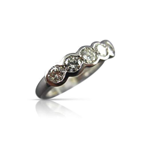 (Milano Jewelers .70CT Diamond 14K White Gold 3D SEMI Bezel 5 Stone Anniversary Ring #5684)