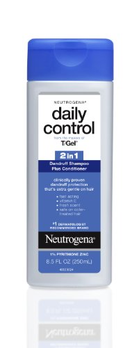 Neutrogena T/Gel Daily Control 2-in-1 Anti-Dandruff Shampoo Plus Conditioner with Vitamin E and Pyrithione Zinc, Fast Acting Relief for Scalp Itching and Flaking, 8.5 fl. oz (Pack of 2)