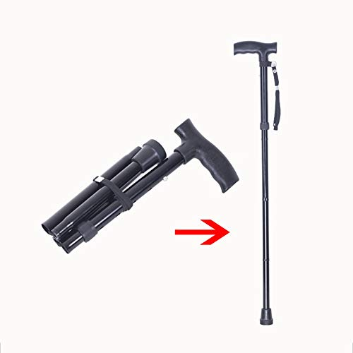 (cane Folding Ultralight Aluminum Alloy Walking Stick Ajustable Height with Wrist Strap Single Foot Anti-Slip for Men and Women)