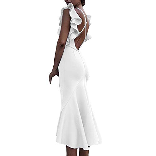Hypothesis_X  Women Sexy Long Dresses for Party Backless Flounce V-Neck Buttock Dress Beach Long Dress White
