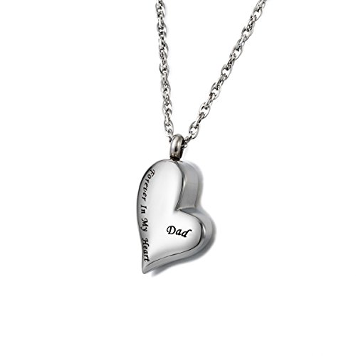 Dad Heart - ZARABE Cremation Jewelry Dad Forever in My Heart Memorial Ash Urn Necklace (Dad)