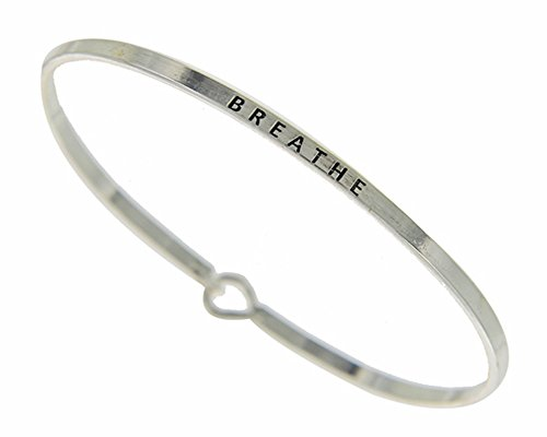 - ST Collection Women's -BREATHE- 3mm Message Silver Plated Brass Bangle Bracelet (Silver)