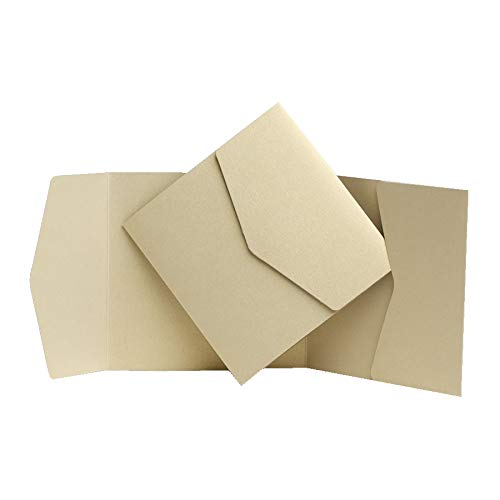 Light Gold Pocketfold invita 150mm x 150mm da biglietti d' invito Ltd Gold Pocketfold Invites