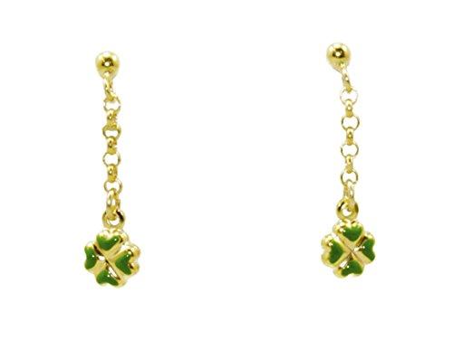14k Yellow Gold Four Leaf Clover Dangling - Gold Earrings Italian