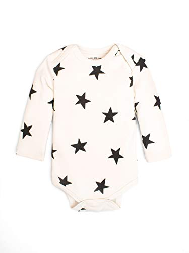 Colored Organics Unisex Baby Organic Cotton River Bodysuit - Long Sleeve Infant Onesie - Star Print - - Organic Star