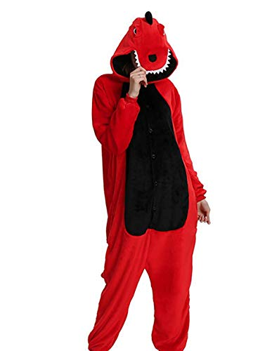 Unisex Adult Pajamas-Plush Onesies Dinosaur Pajamas Animal One Piece Cosplay Halloween Xmas Costume for Adults Red S ()