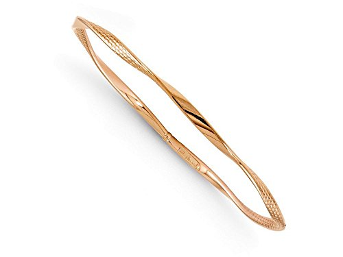 Finejewelers-14k-Rose-Gold-Polished-and-Textured-Twisted-Slip-on-Bangle