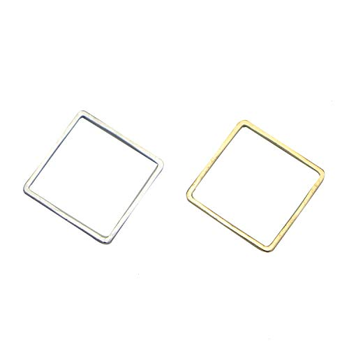 Monrocco 30Pcs Square Pendant Connector DIY Handmade Geometric Pendant Connector Square Earring Dangle Jewelry - Gold,Silver 16mm