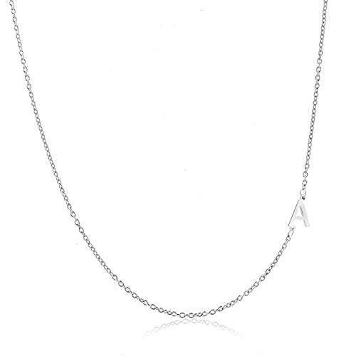 (Deidreamers Sterling Silver Side Mini Initial Necklace A)