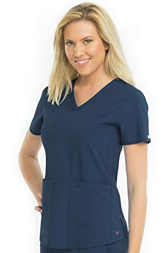 Med Couture Energy Racerback V-Neck Shirttail Scrub Top Women, Navy, XX-Large ()