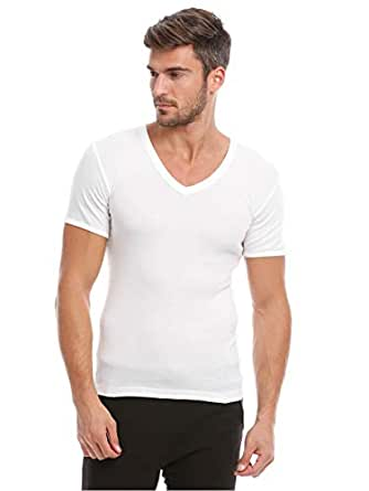 Slugger White Cotton V-Neck Undershirt For Men