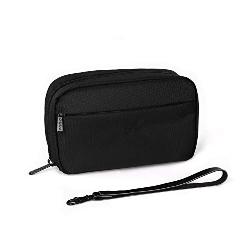 Patu Handy Beauty Stuff Carry Case, Makeup Cosmetic Bag, Women Facial Cleanser Skincare Kit Pouch, Pencil Clutch, Portable Electronics Accessories Organizer, Black