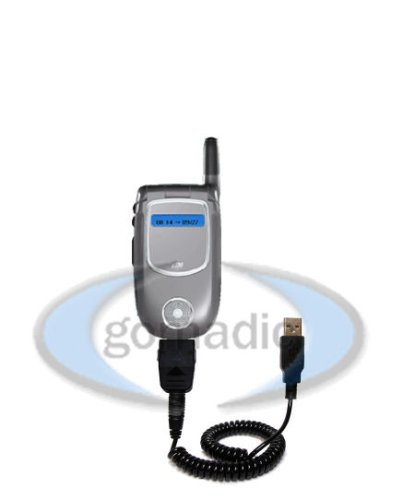 Motorola V731 Coiled Power Hot Sync and Charge USB Data Cable w/Tip Exchange - Gomadic Brand