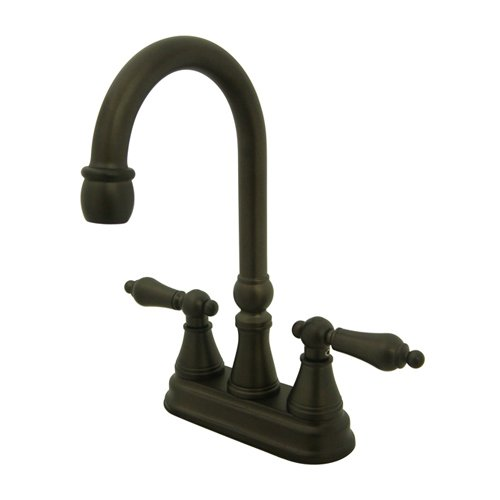 picture of Kingston Brass KS249.AL Governor Centerset Bar Faucet with Metal Lever Handles, Oil Rubbed Bronze