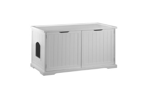 Merry Products Cat Washroom Bench, White, My Pet Supplies