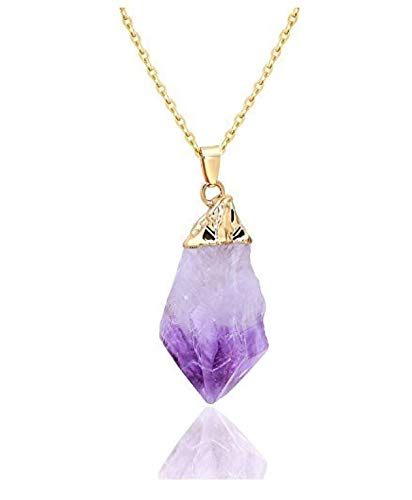 14k Gold on Sterling Silver Raw Amethyst Gemstone Pendant Dainty Cute 18 inch Free Form Healing Crystals Chakra Stones ()
