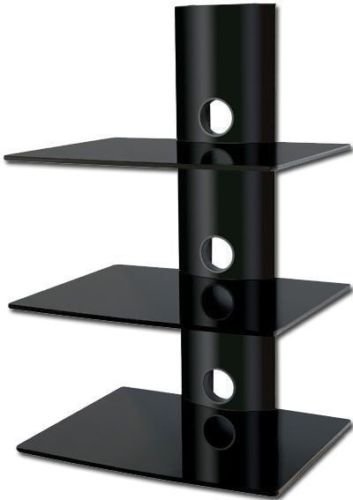 amazon com 2xhome high gloss black 3 triple shelf wall mounted av rh amazon com audio video component shelf wall mount audio video shelving wall mount