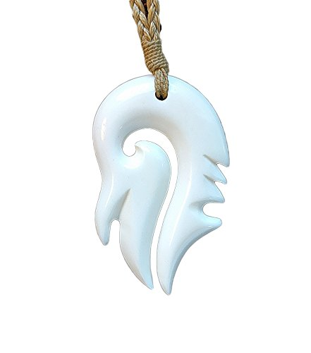 Earthbound Pacific Hand Carved Solid Bone Inverted Stylized Hawaiian Fish Hook Necklace