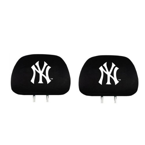 Pair of Polyester Head Rest Covers Featuring MLB Team Logo Design - New York Yankees