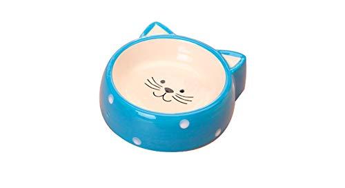 Xian ,Cat Bowl, Cat Bowl, Cat and Cat Daily Necessities, Pet Cat Bowl, Pussy Puppies Bowl Ceramic Cat Food Bowl Small Black Cat Blue (Color : Blue cat Ears)