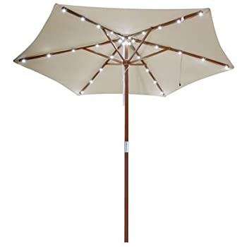8 Ft Outdoor Patio Umbrella With Solar LED Lights