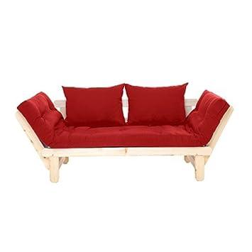 Día Cama Sofá con rojo colchón para futón completo y cojines: Amazon.es: Hogar