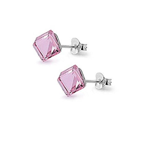 (Simulated Crystal Pink Cube Stud Earrings Sterling Silver)