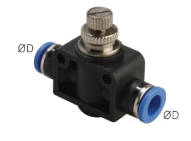 "PneumaticPlus SCF-1/4 Air Flow Control Valve with Push-to-Connect Fitting, In-Line Speed Controller Union Straight - 1/4"" Tube OD x 1/4"" Tube OD"