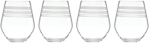 kate spade new york Library Stripe Stemless White - 4 ct
