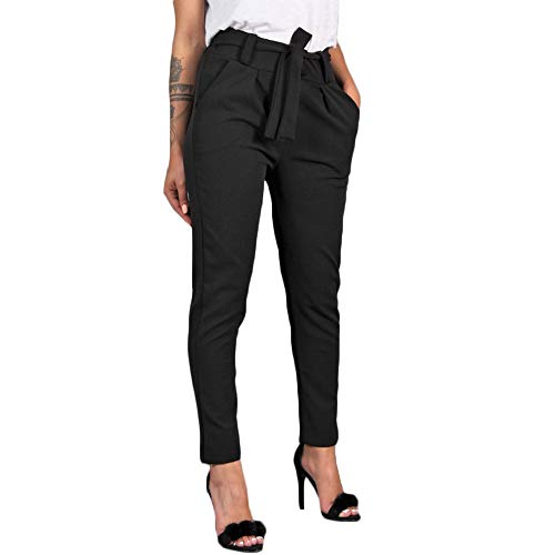 WUAI-Women Pants for Work Casual Trouser Cropped Paper Bag Elastic Waist Straight Casual Pants (Black,Small) (Chino Pleated Andrew Pant)