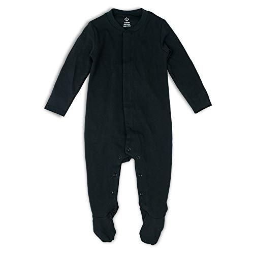 OPAWO Baby Footed Pajamas with Mittens - Infant Girls Boys Footie Onesies Sleeper (Black, 9-12 Months)