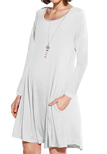 (JollieLovin Women's Pockets Long Sleeve Casual Swing Loose Dress (White, M))