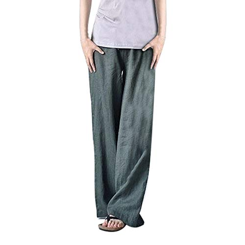- iYYVV Women Linen High Waist Long Straight Solid Color Plus Size Wide Leg Yoga Pants Gray