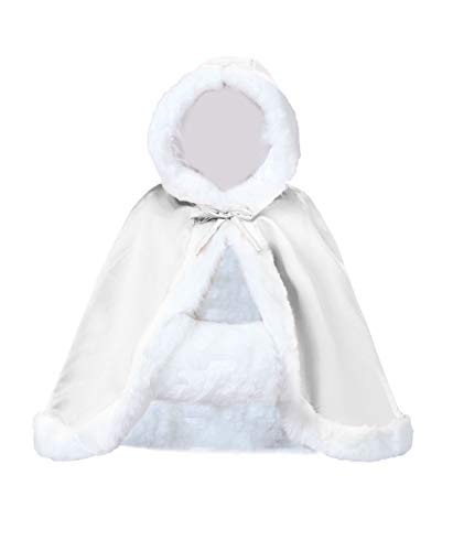 Wedding Cape Hooded Cloak for Bride Winter Reversible with Fur Trim Free Hand Muff Hip-length -