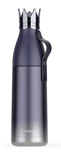 Yisinga Blue Crown thermos insulated stainless steel sports water bottle double wall vacuum Cup thermos flask with cup lid for drinks Gradient color creative thermos with cup on top for sports…