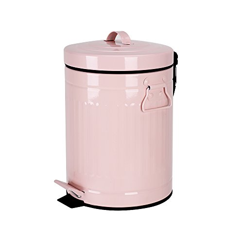 Bathroom Trash Can with Lid, Small Pink Trash Can Wastebasket for Home Bedroom with Lid, Round Waste Bin Soft Close, Retro Vintage Garbage Metal Cans for Office, 5 Liter / 1.3 Gallon, Glossy Pink